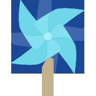 Windy Pinwheel Blue Pinwheel